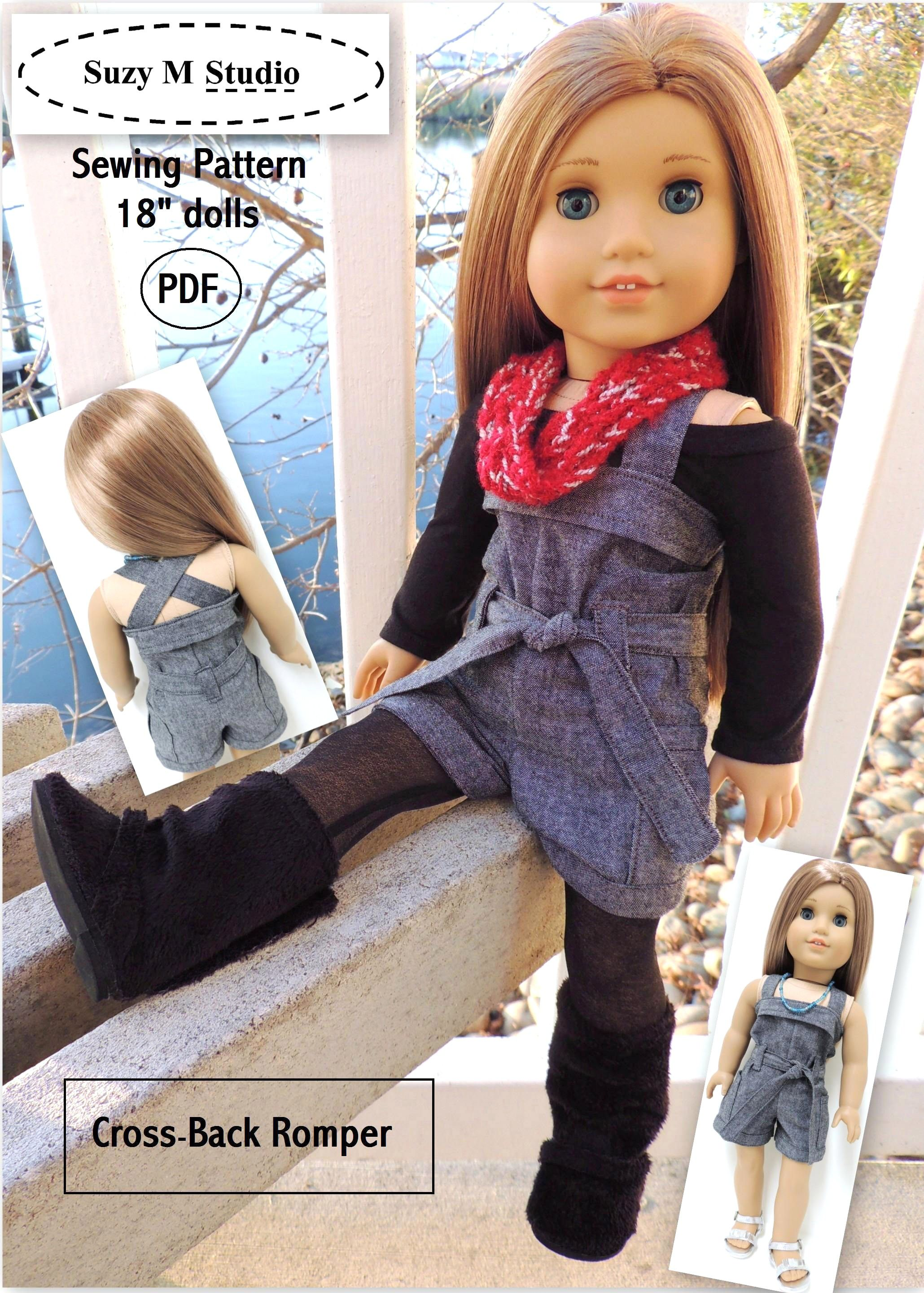 Cross back romper suzymstudio this site has other cute clothes american girl doll romper sewing pattern so cute jeuxipadfo Images