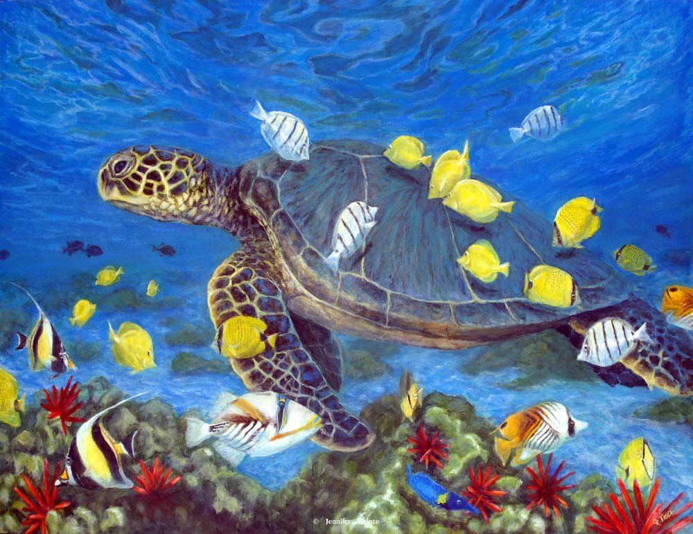 Sea turtle painting hawaii underwater art triggerfish for Sea life paintings artists