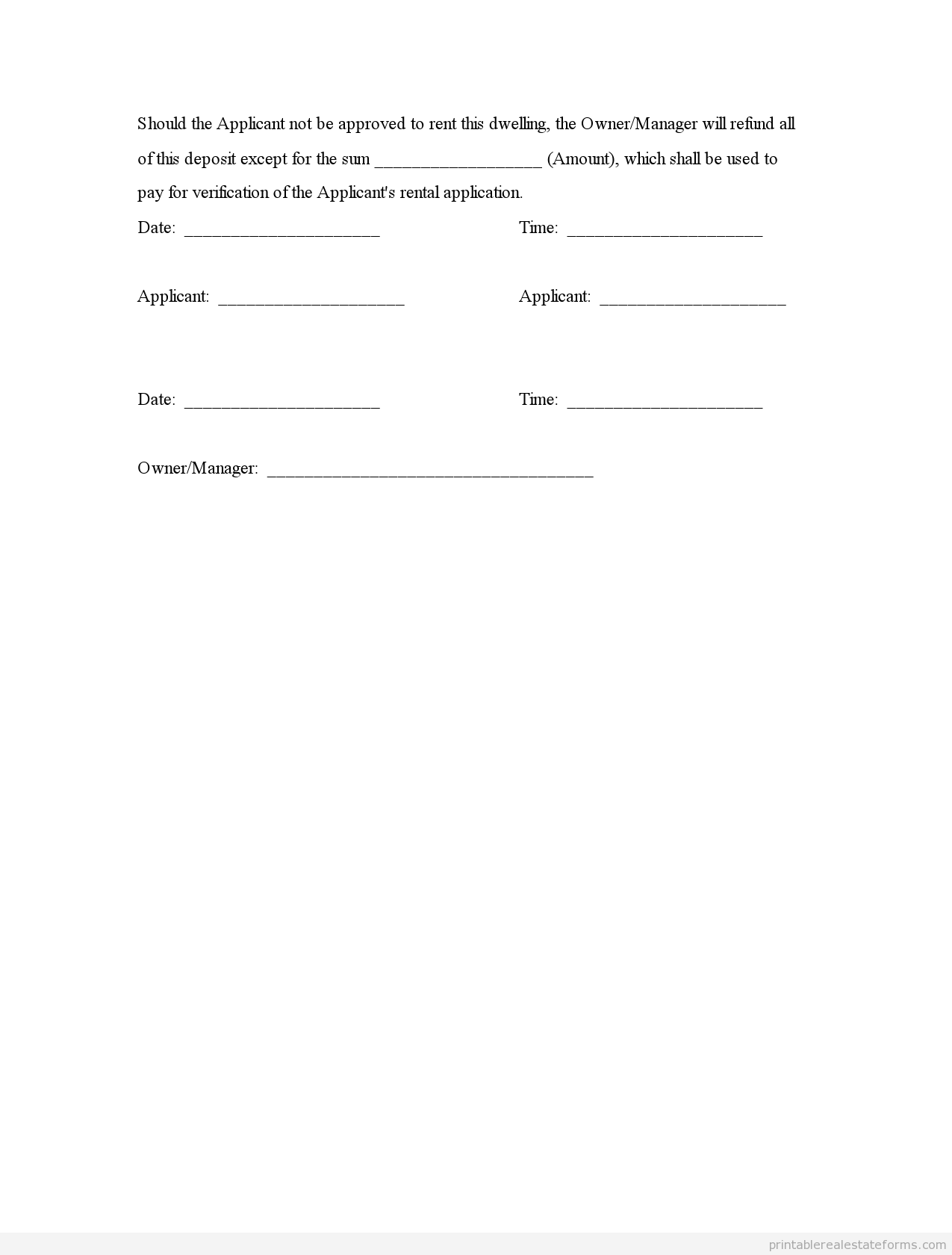 Sample Printable Deposit Receipt And Agreement Form  Printable