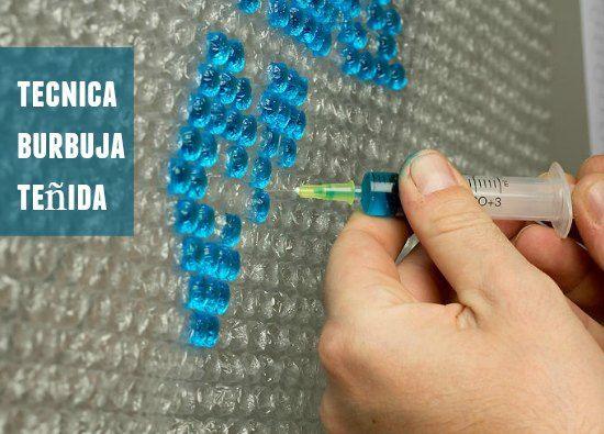 Inyectar agua coloreada a las burbujas de plástico, el título es raro ¿verdad