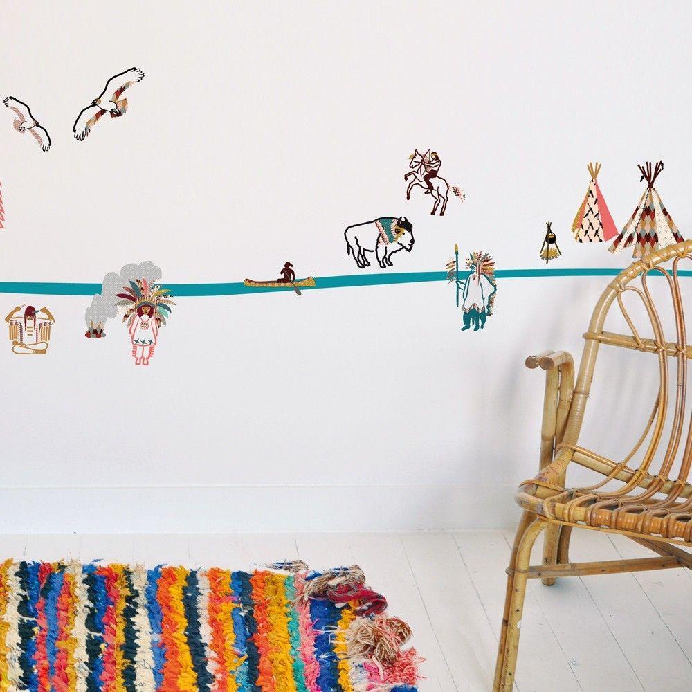 Mimi 39 lou sticker frise indien product enfant chambre - Frise murale chambre fille ...