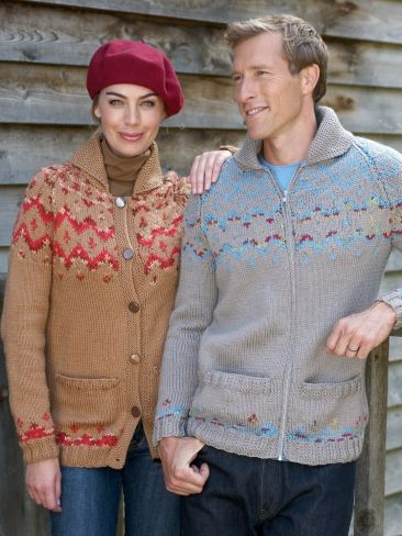 His & Hers Fair Isle Cardigans | Yarn | Free Knitting Patterns | Crochet Patterns | Yarnspirations