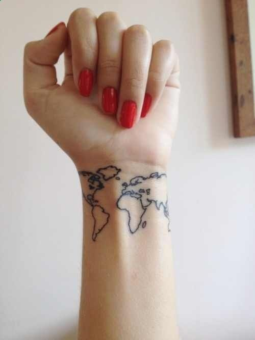 If i had another wrist 3 tats pinterest tatting and tattoo world map tattoo not sure about the placement but how cool would it be to have a small world map somewhere and just get a dot of color everywhere you gumiabroncs Gallery