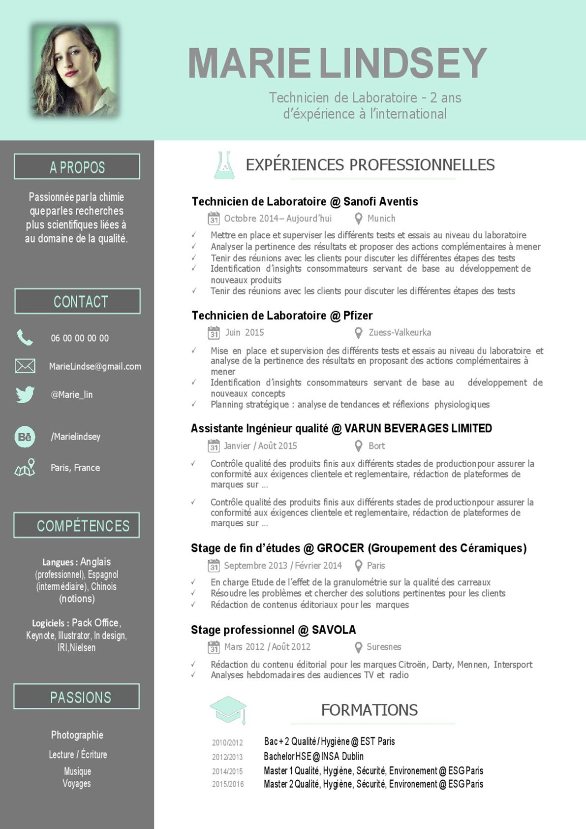 exemple cv responsable laboratoire