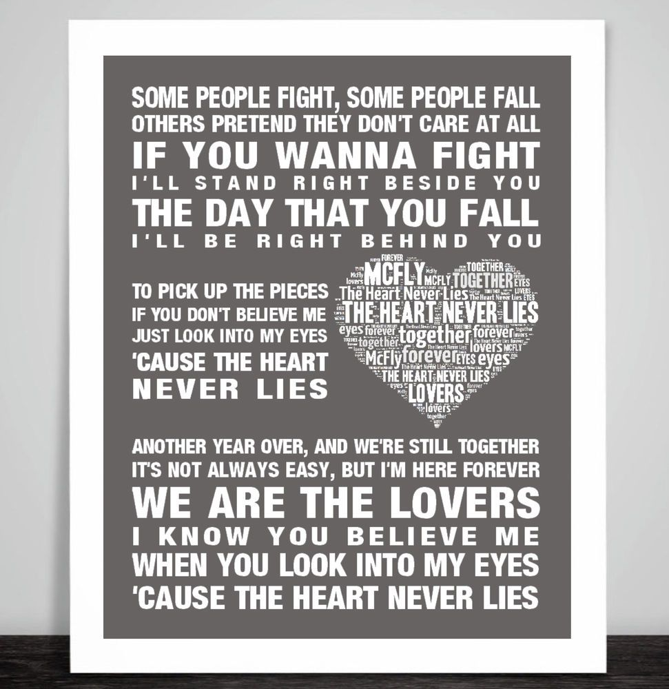 Mcfly The Heart Never Lies Love Song Lyric Print Picture Wedding