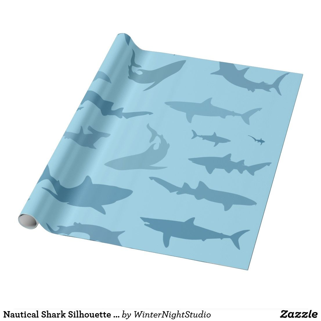 Nautical Shark Silhouette T Wrapping Paper