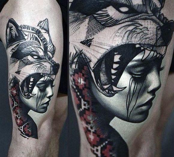 Top 63 Wolf Tattoo Ideas 2020 Inspiration Guide Wolf Girl Tattoos Leg Tattoos Wolf Tattoo Design