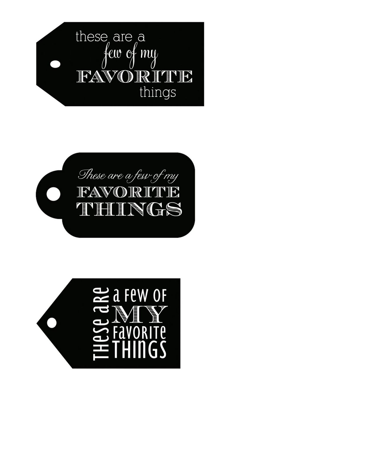 A Few Of My Favorite Things Free Printable T Tags