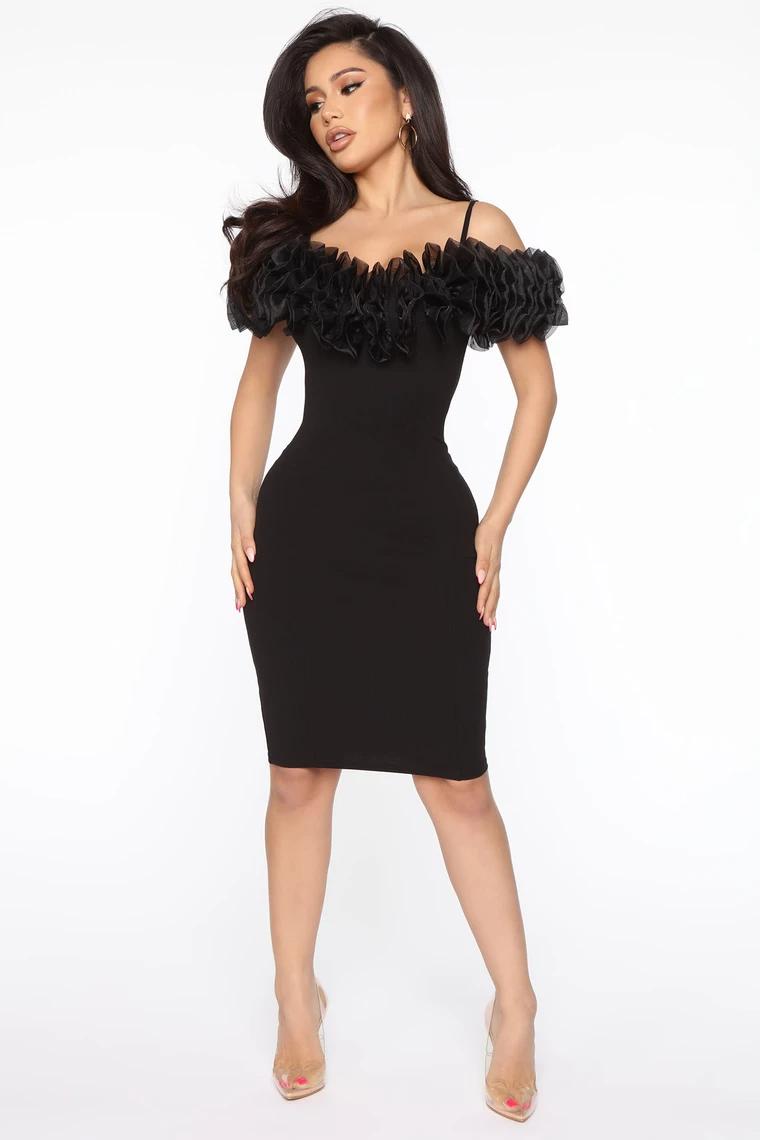 Hot And Bothered Ruffle Mini Dress Black Mini Dress Party Dress Classy Dresses [ 1140 x 760 Pixel ]