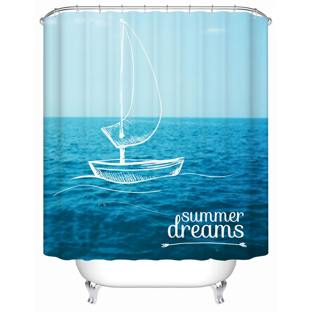 Hot Sell 3D Sailing Printing Summer Dreams Shower Curtain Polyester ...