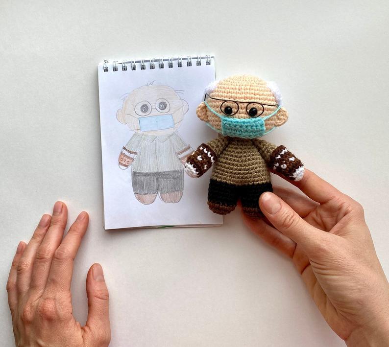 Bernie Sanders with Mittens Amigurumi Crochet Doll Pattern