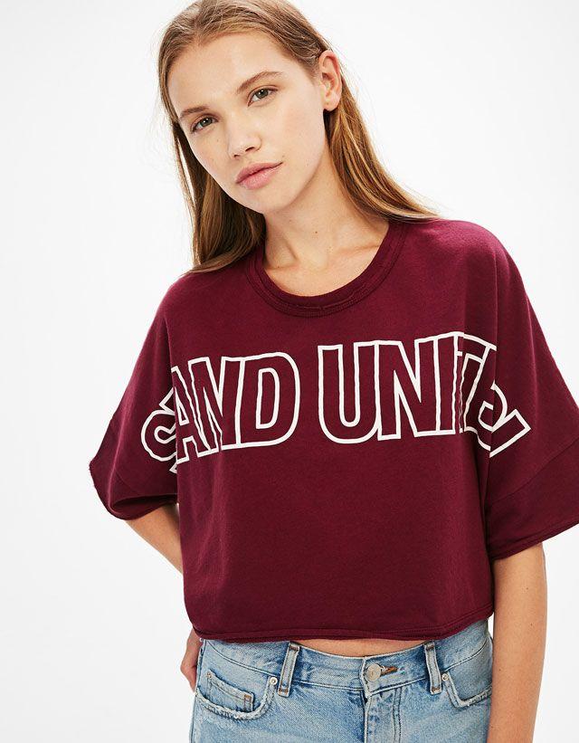 1bb9f66570858 T-Shirts - CLOTHES - WOMAN - Bershka Turkey