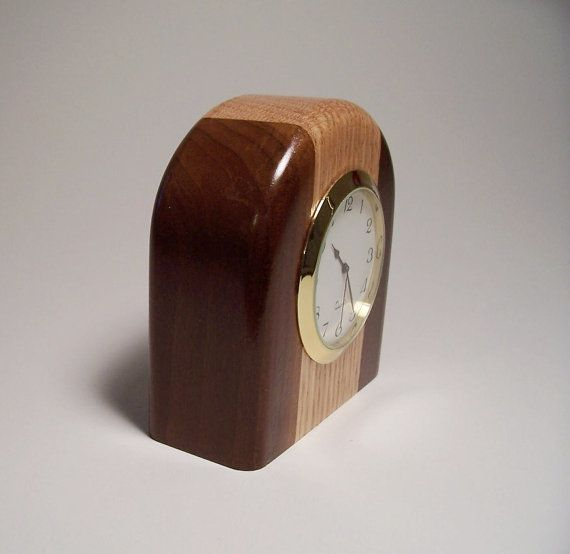 Small Two Tone Wooden Desk Clock Made Of Oak By Jillianjonesent