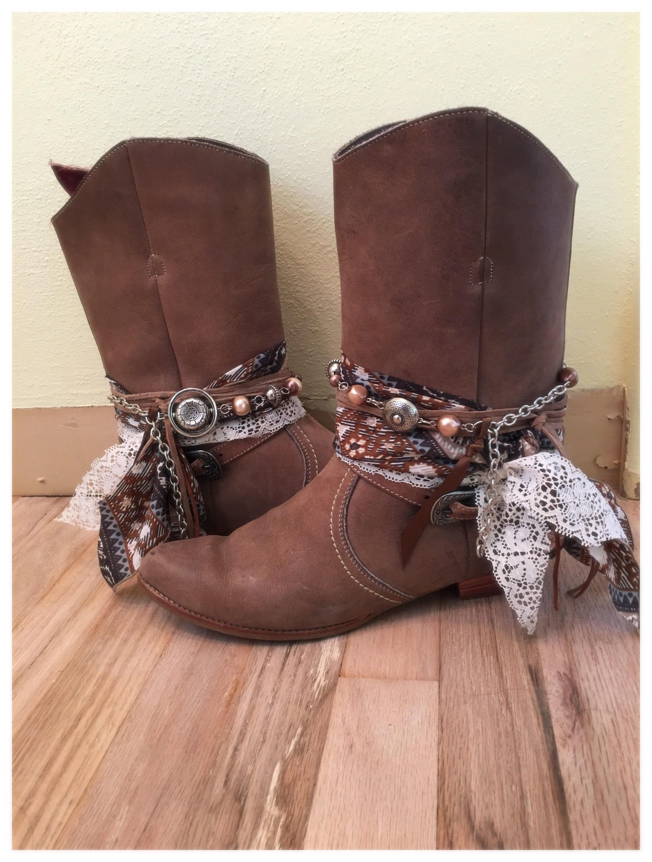 d85a69c6e6c Mid Tall Light Brown Leather UPCycled Boho style cowgirl boots Size ...