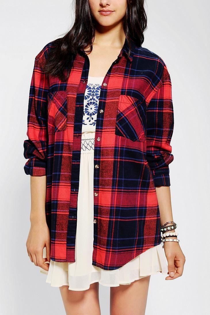 Flannel shirt outfit ideas  BDG Frankie Boyfriend Shirt  I want Sun and A dress