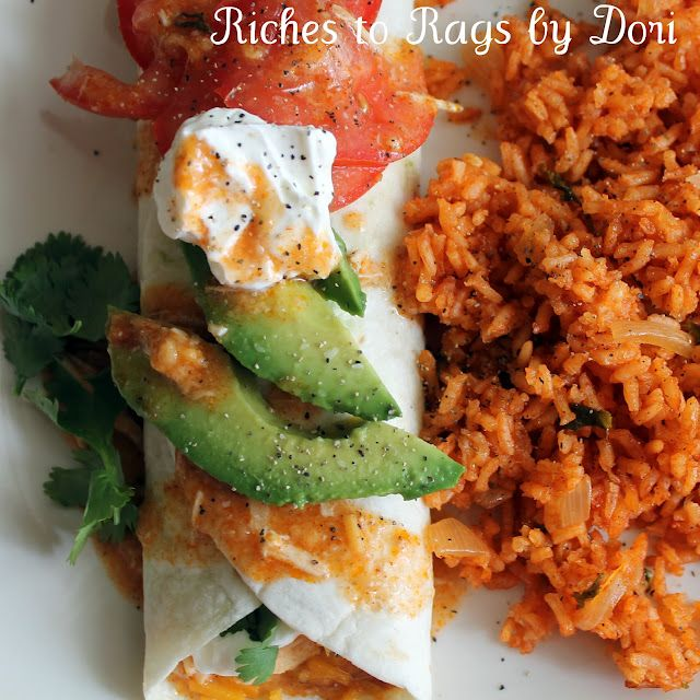 Chicken enchilada burritos! Sounds delish! Why does Mexican food always look so good?