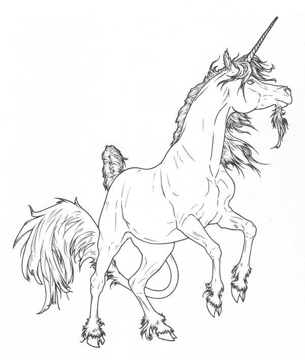 Rearing Unicorn Lines By Requay On Deviantart Horse Coloring Pages Horse Coloring Unicorn Coloring Pages