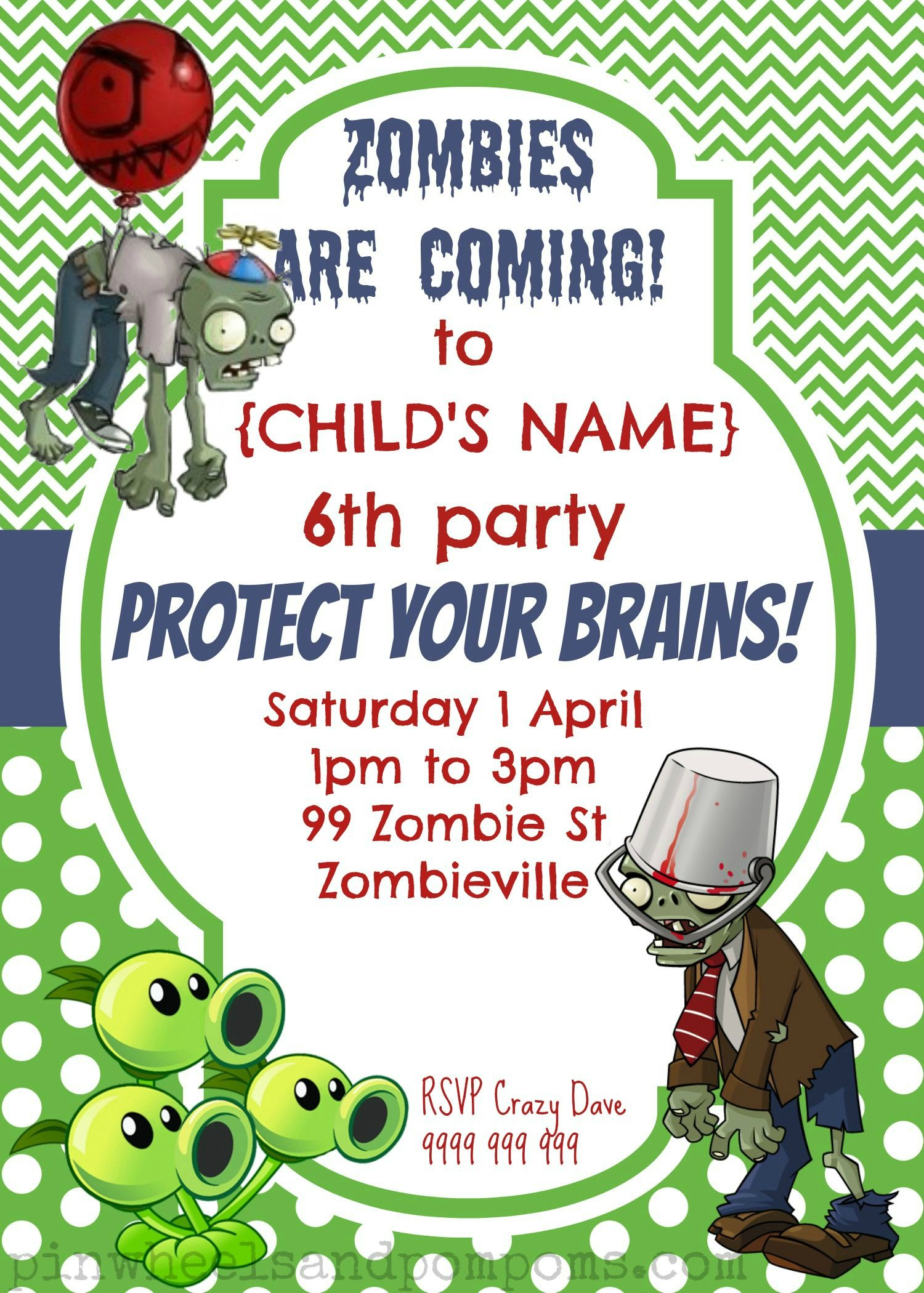 3 Beautiful Zombie Birthday Party Invitation Template Stock in