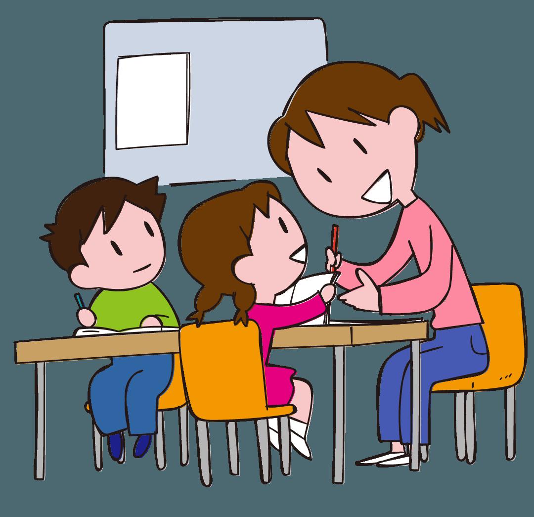 学習支援 放課後お姉さんと勉強する子どもたち イラスト Gogons