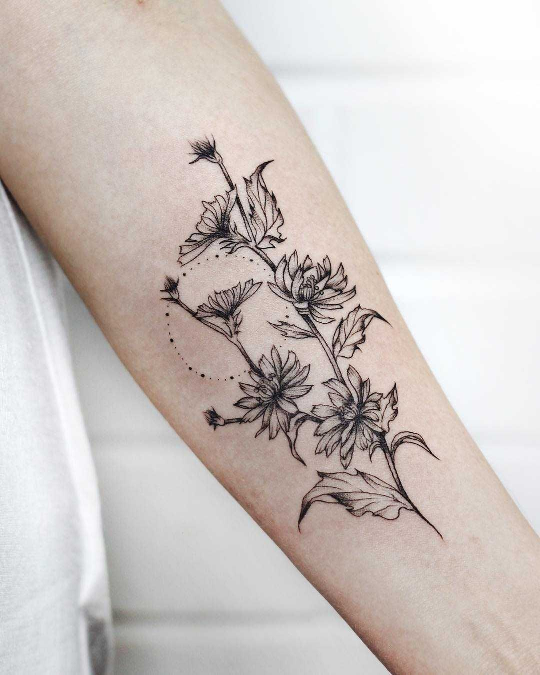 Succory branch tattoo on the forearm - Tattoogrid.net