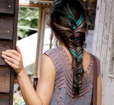Handmade Rainbow Colored Human Hair Extensions, Fishtail Braid, Human Hair Extension Clip, Hair Wefts, Clip in Hair, Pastel Hair. $15.00, via Etsy.