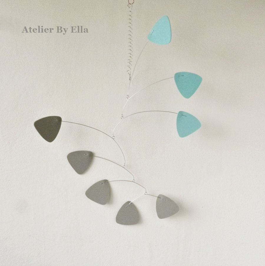 Hanging art mobile, Grey and blue , Calder inspired by AtelierByElla on Etsy