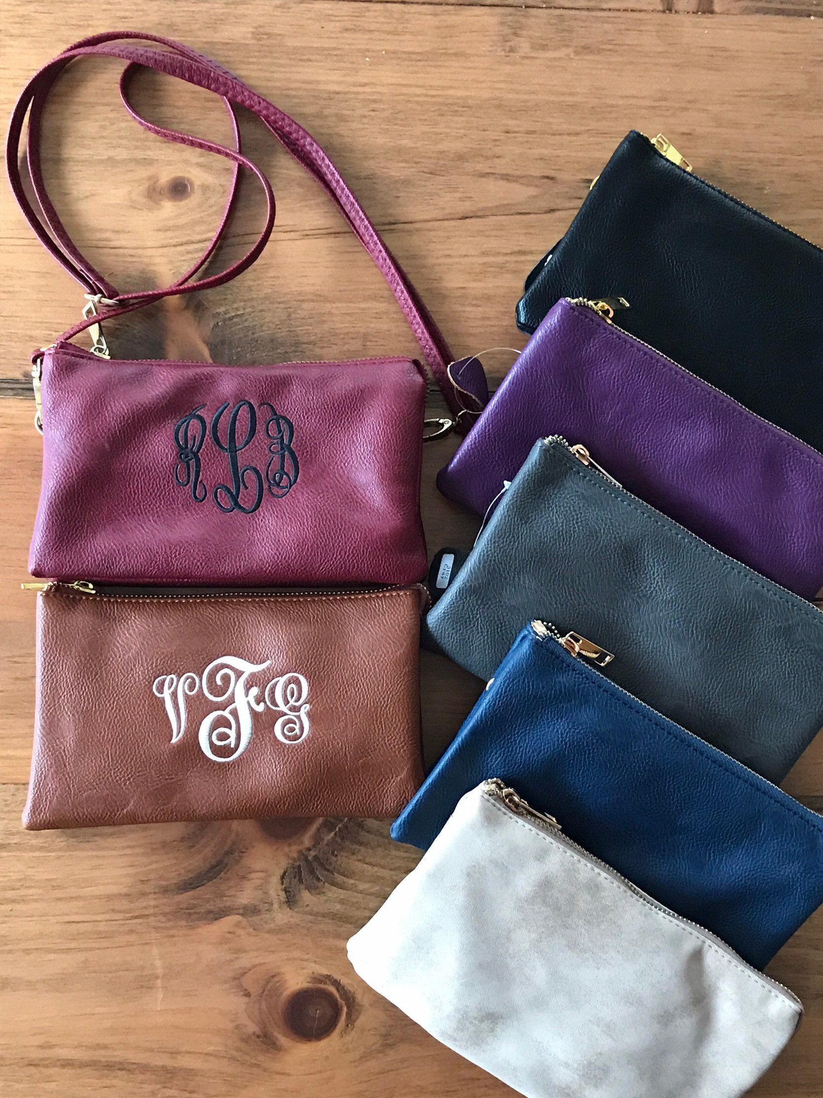 c0869a95e Excited to share this item from my #etsy shop: Small Leather Crossbody Bag  - Monogram Wristlet - Monogram Purse - Wristlet Wallet - Bridesmaids Gift  ...