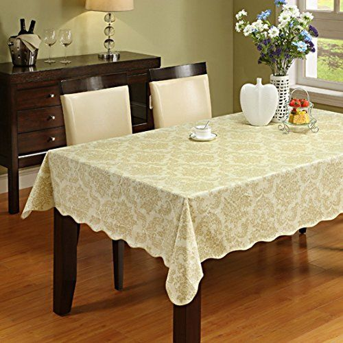 Beau Damask Pattern Flannel Backed Vinyl Tablecloth Waterproof PVC Table Cover  For Kitchen Dinning Table Home Decoration