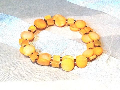 Double Orange Bracelet in Mother of Pearl by NorthCoastCottage, $19.00