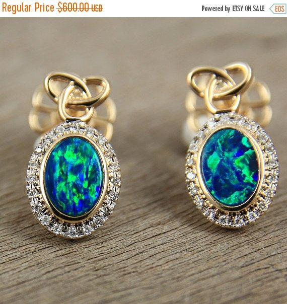 Last Chance Sale Sparkling Black Opal & Diamond Earrings 14K Yellow Gold Natural Australian Opal Artisan Jewelry SKU: E1877