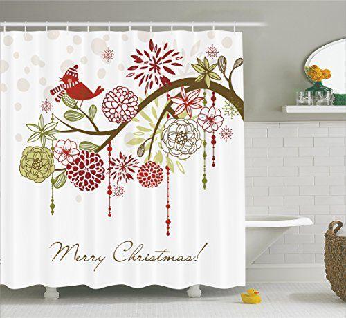 Merry Christmas Shower Curtain Christmas Bathroom Curtain Https Www Amazon Com Dp B01lq Tree Shower Curtains Christmas Shower Curtains Bathroom Decor Sets
