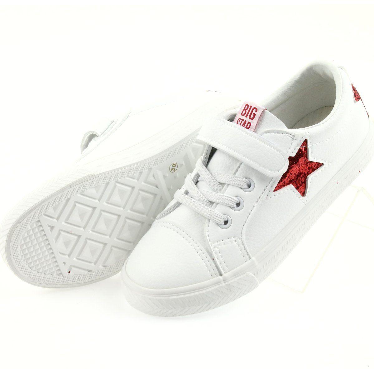 Big Star Trampki Na Rzepy Gwiazda 374102 Biale Czerwone Sneakers Converse Sneaker Shoes