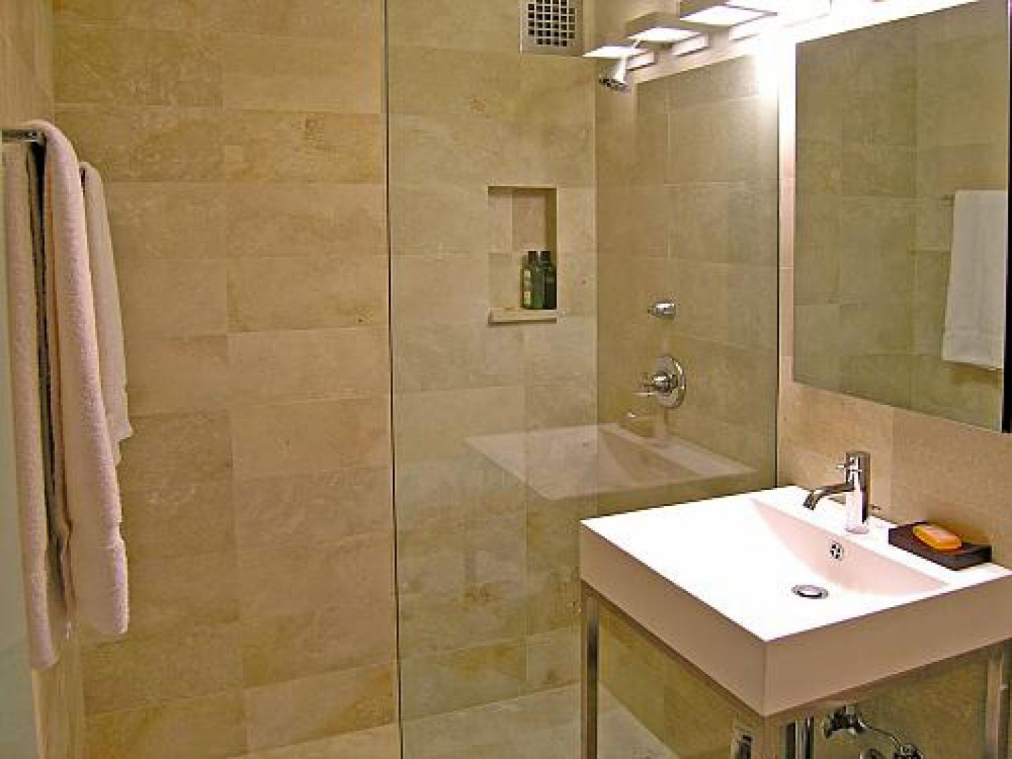 Bathroom Travertine Bathroom Tile Feat Glass Door Shower Room Ideas With  Wall Lamp And White Square Sink Appealing Bathroom From Travertine Bathroom  ...