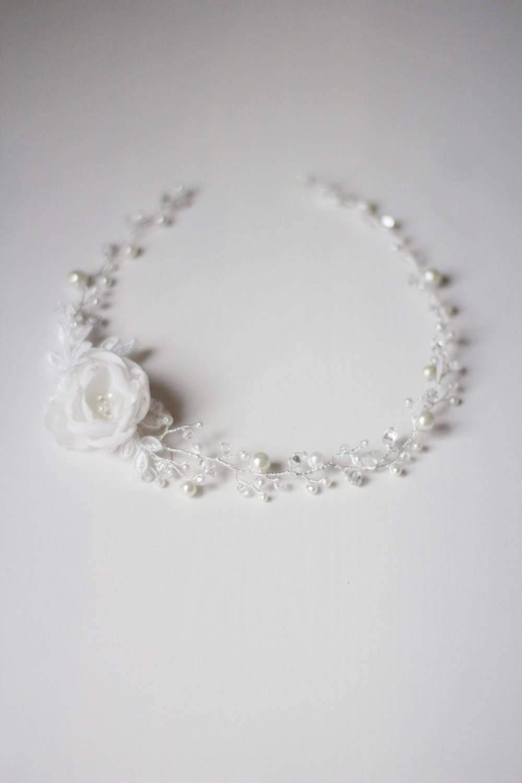 The bridal wedding boho bohemian hair vine halo headpiece is