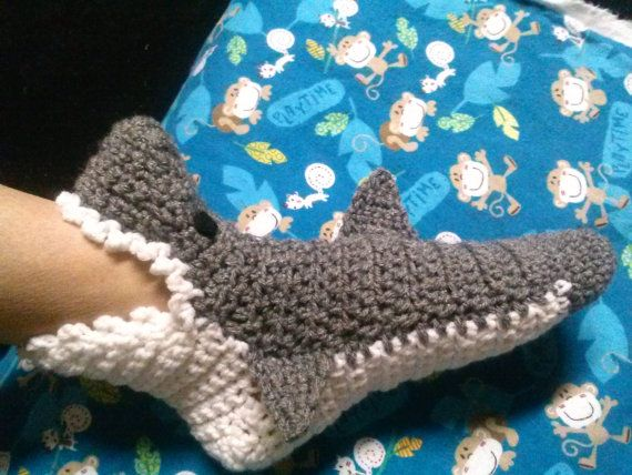 Crochet Shark Slipper Socks Mens Womens and by granystitches1964 ...