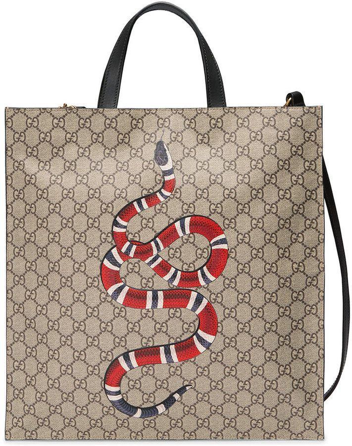 4813494e5ed Gucci Kingsnake print soft GG Supreme tote Gucci Snake Bag