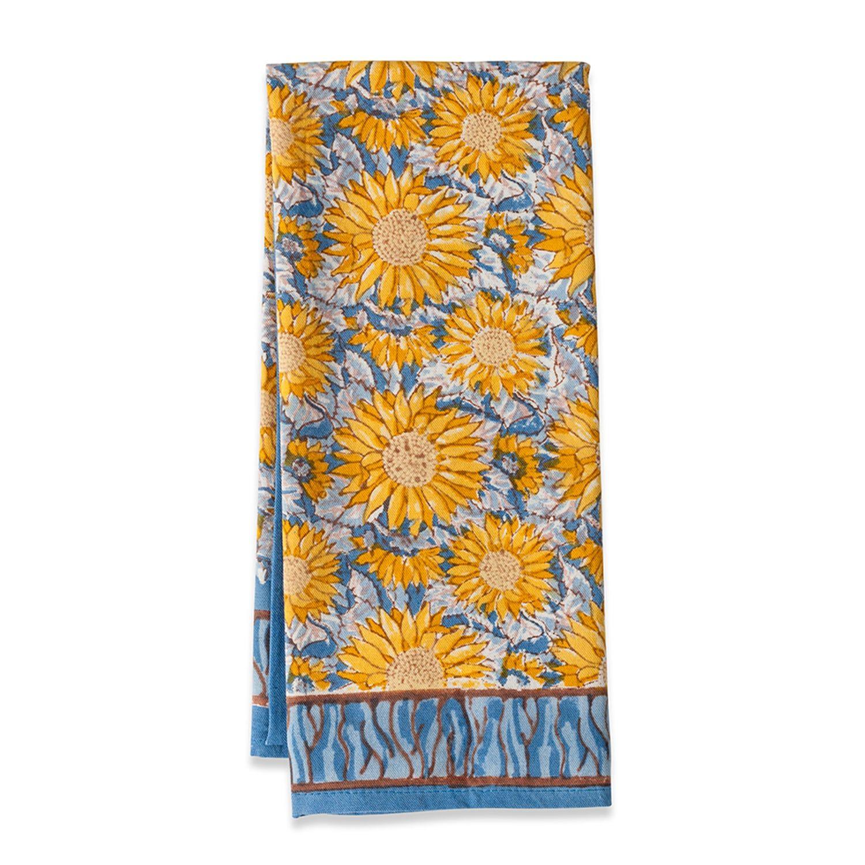 Sunflower Yellow Blue Tea Towel Set Of 3 Kitchen Towels Tea