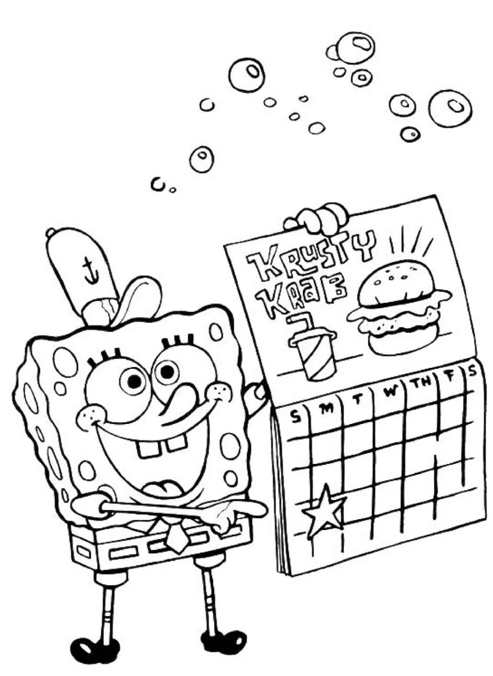 25 SpongeBob-Zeichnungen zum Ausmalen und Drucken - Kostenlose