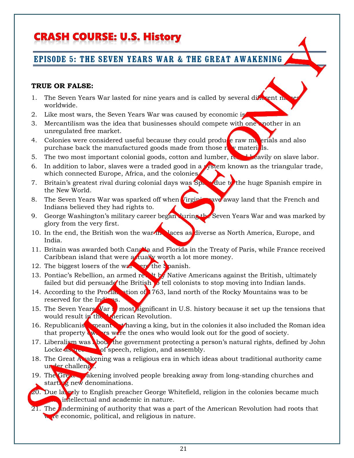 DISTANCE LEARNING Crash Course U.S. History Worksheets: Episodes 1-5 BUNDLE    History worksheets [ 1584 x 1224 Pixel ]