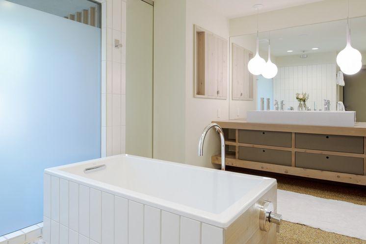 Red cedar siding used for vanity Bathroom design