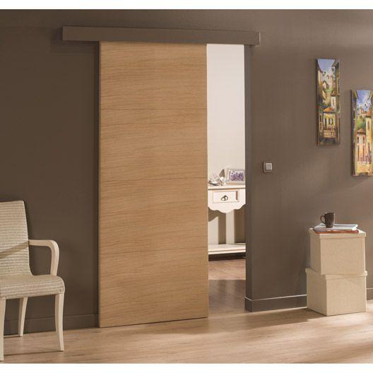 Porte coulissante chêne plaqué marron Madrid, 204 x 73 cm Porte