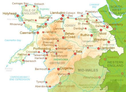 North Wales map showing surrounding areas Towns Maps Of World