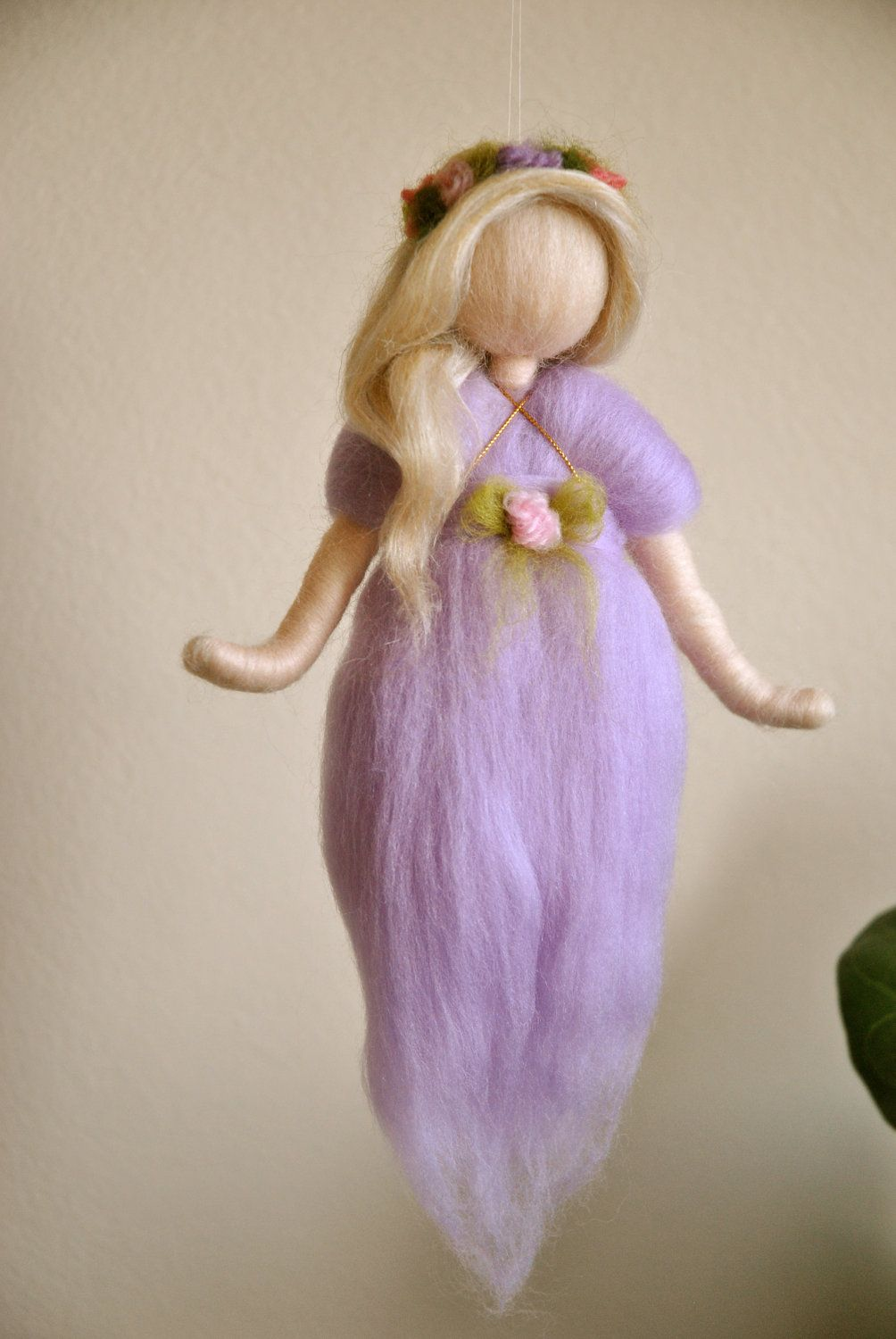 Purple Fairy Wall Hanging Waldorf inspired needle felted #dollsneedlefelt