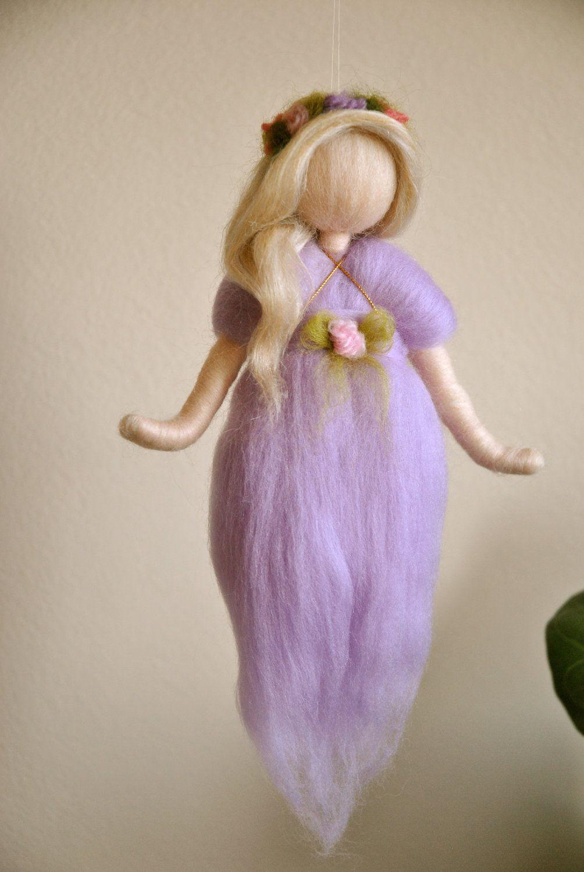 Purple Fairy Wall Hanging Waldorf inspired needle felted #dollsneedlefelt