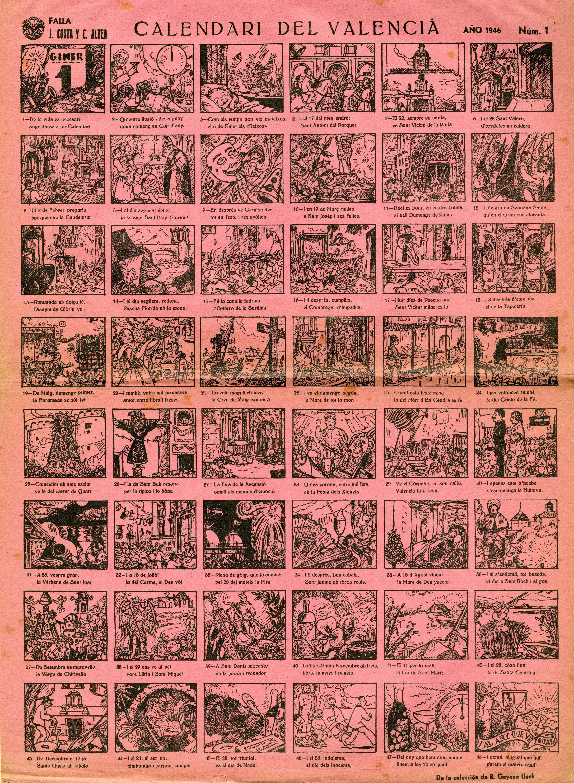 """Auca """"Calendari del Valencià"""" (1939) de la Biblioteca del Rafael Gayano Lluch.  Reeditat l'any 1946 per la Falla Joaquín Costa. CA 28.16"""