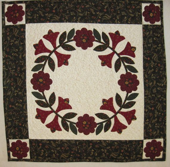 Quilted  table topper Floral Wreath by KellettKreations on Etsy, $29.00