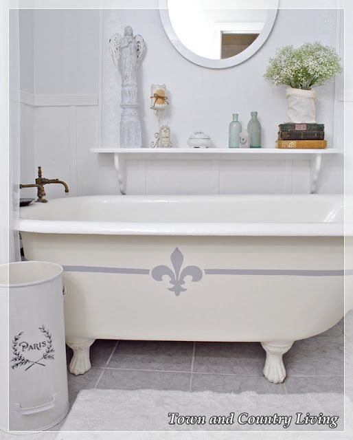 My Claw Foot Tub Gets Frenchified Town Country Living Clawfoot Tub Old Bathtub Clawfoot