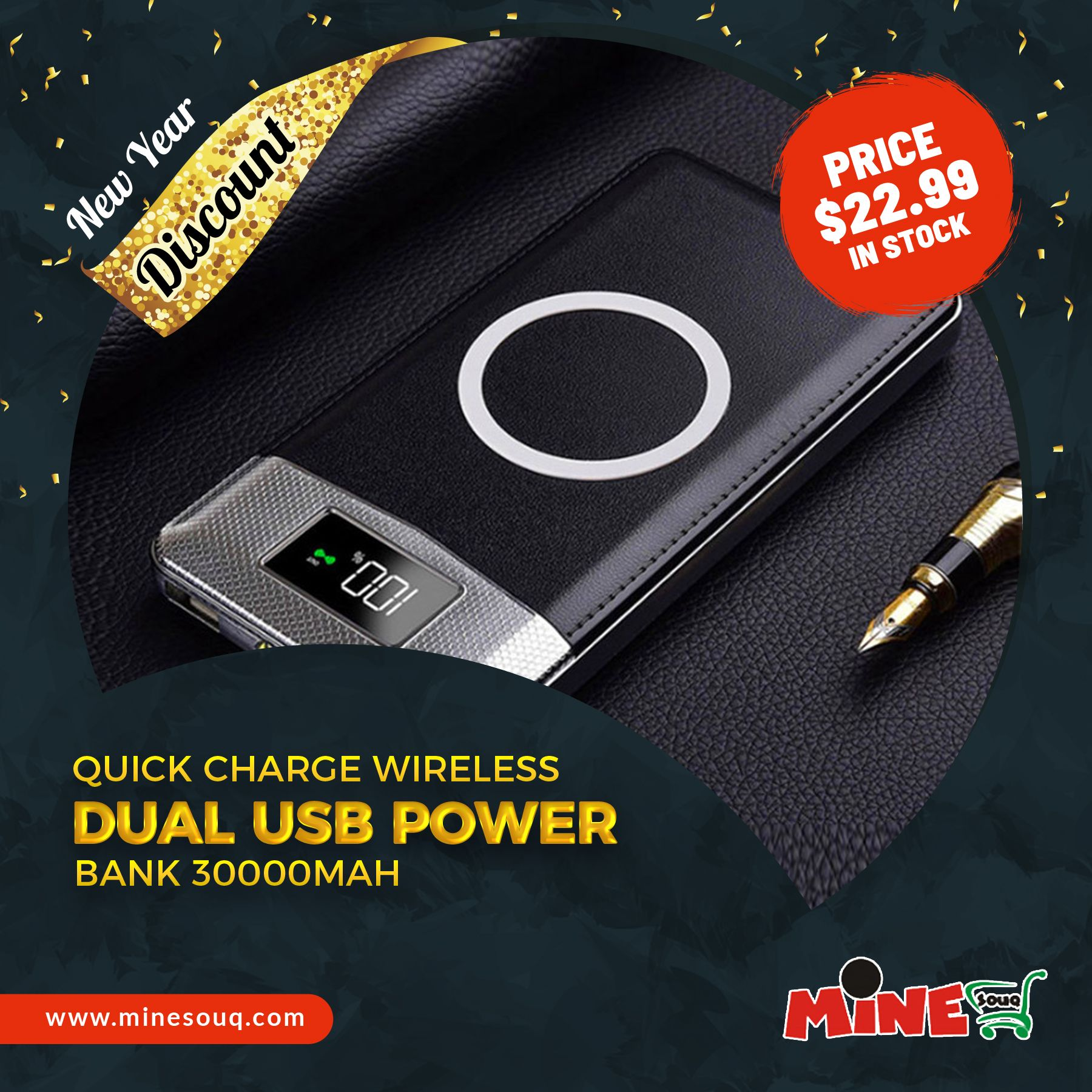 Quick Charge Wireless Dual USB Power Bank 30000mAh in 2019