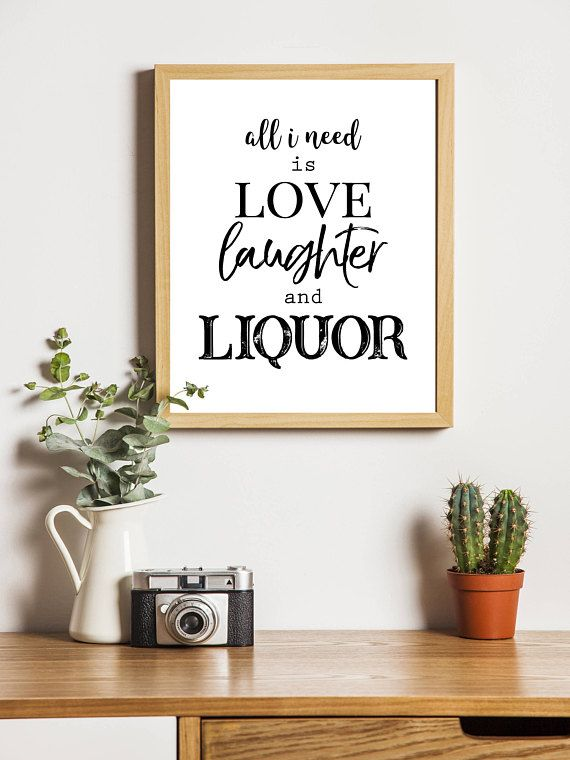 Drink Wall Art Bar Decor Print Home Decor Print Love Bar Sign For