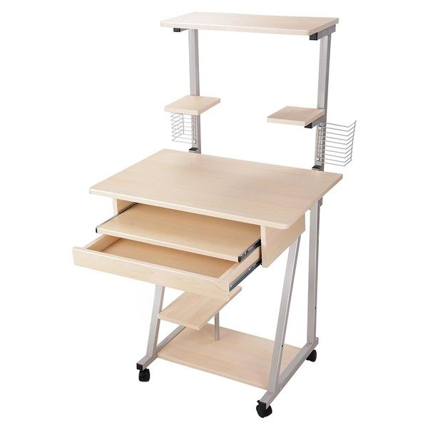Rolling Computer Desk w// Printer Shelf Laptop Writing Study Table Home Office